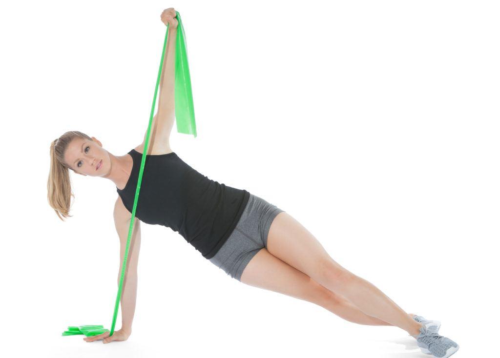 taśma do ćwiczeń flex średnia ćwiczenie na brzuch i ramiona