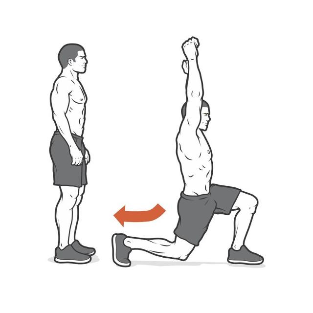 Mobilność zakroki z wyciągnięciem ramion nad głowę