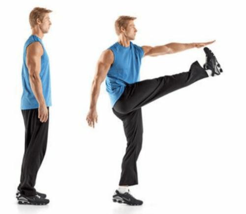 rozciąganie dynamiczne wykopy nóg